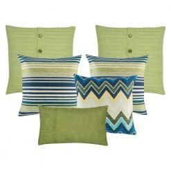 A set of 6 green and blue cushion covers in square and rectangular shapes with cable knit, lines, chevron and solid patterns