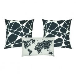A collection 3 cushion covers with global map design and in grey and white colours