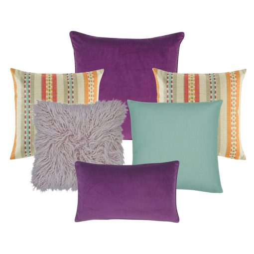 A collection of plum, lilac, teal and multi-colored cushions in square and rectangular shapes
