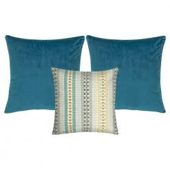 A set of 3 cushions with blue and grey colours