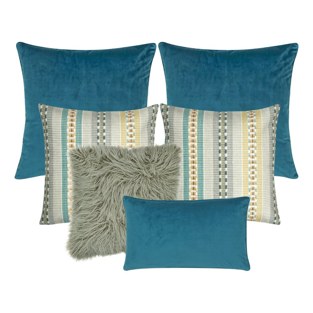 A mix of rectangular and square cushions with blue and grey colours
