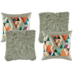 A collection of 4 square grey cushions