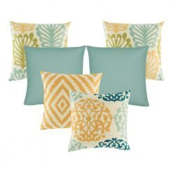 A collection of 6 square cushion covers with floral, chevron and solid patterns with duck egg, olive and orange colours