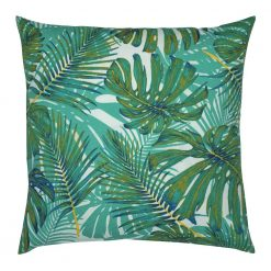 Photo of outdoor cushion with teal coloured leaves