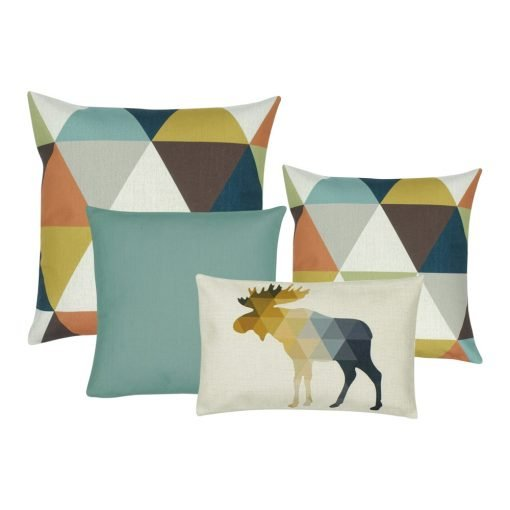 A set of 4 cushion covers with duck egg, blue and brown colours with moose print