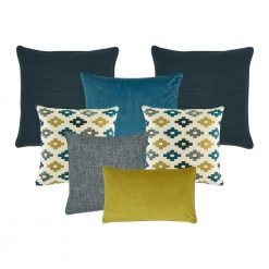 A mix of 7 rectangular and square cushion covers in grey, teal and mustard colours