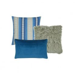 A set of 3 cushions in blue and grey colours