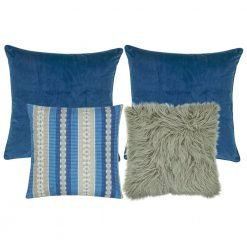 A collection of 4 cushion covers in blue and grey colours with solid and line patterns