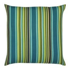 Teal and lime green coloured outdoor cushion cover with stripes design