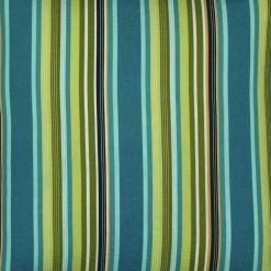 Close up image of outdoor cushion cover with stripe design and in teal and lime pattern