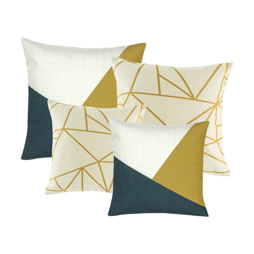 A set of 4 white, blue and gold cushions with linear patterns