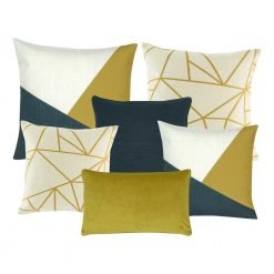 A collection of 6 square and rectangular cushion covers with linear pattern and in gold, blue and white colours