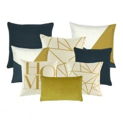 A set of 8 dark blue, gold and white cushions covers with linear pattern and home print
