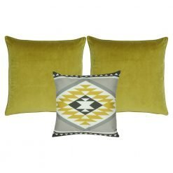 A collection 3 square cushions in yellow and grey colours