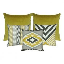 A set of 5 cushion covers in yellow and grey colours and with chevron pattern