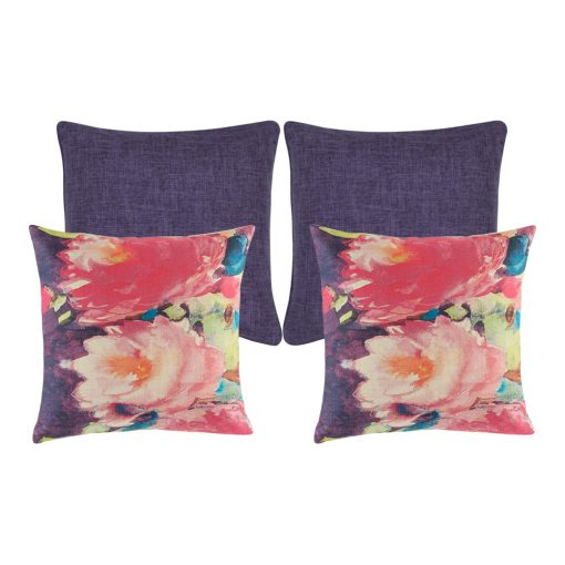 A collection of four purple cushion covers with floral design