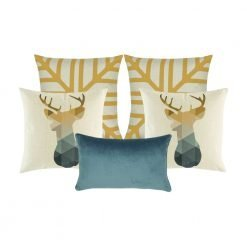 Photo of five cushion covers in gold, white and blue colours with moose design