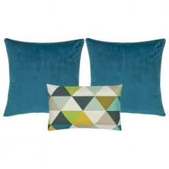 A set of 3 blue and multi-colour square and rectangular cushions