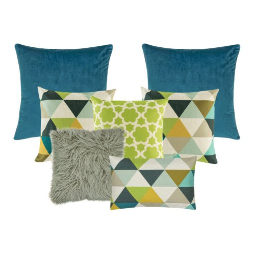 A mix of rectangular and square cushion in blue, grey and lime colours