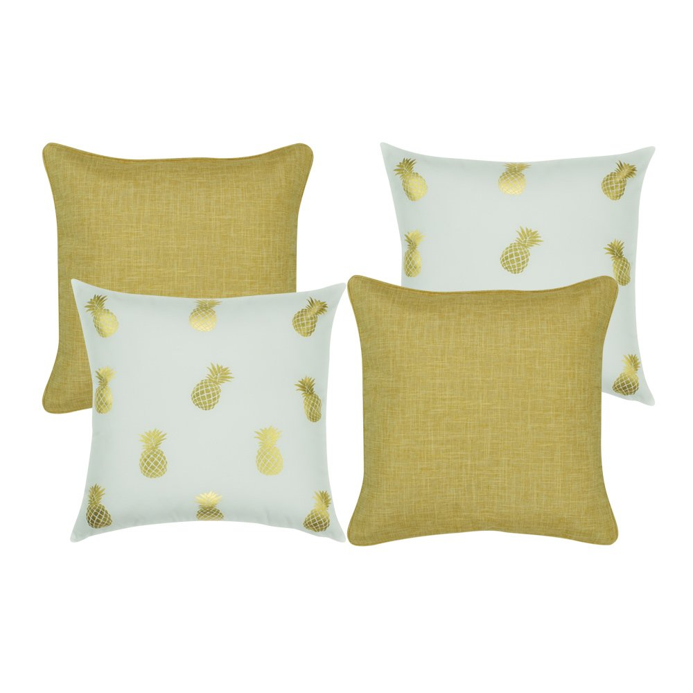 A collection of 4 square cushions in gold and white colours with solid and pineapple patterns