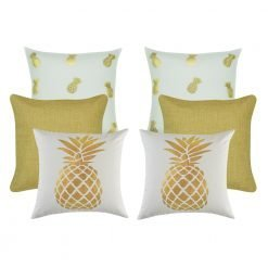 A set of 6 square cushion covers with gold pineapple patterns
