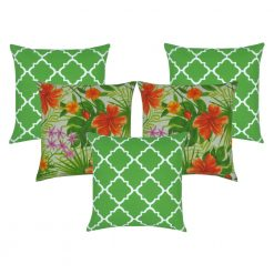Tropical green set of five outdoor cushion covers with three block green that feature a white design in them and two striking tropical designs with orange flowers