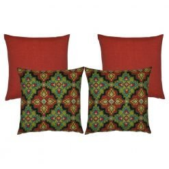 A set of 4 moroccan inspired outdoor cushion covers in red and green colours