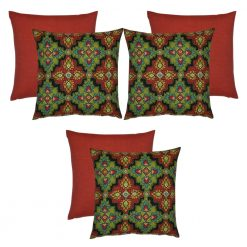 6 piece moroccan-inspired outdoor cushion covers in red and green colours