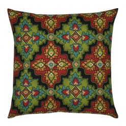 Moroccan-inspired outdoor cushion cover in red and green colour