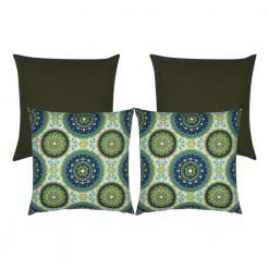 4-piece set with brown and blue moroccan-inspired outdoor cushions