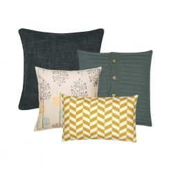 Image of four cushion covers in grey and gold colours with poppy and chevron designs