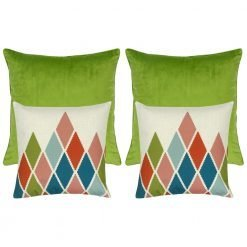 A set of 4 square cushions with green colour and diamond patterns
