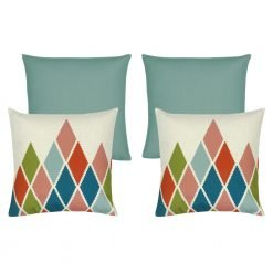 A collection of 4 duck egg coloured cushion covers and with diamond patterns