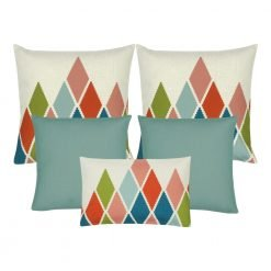 A set of 5 rectangular and square cushions in duck egg colour and diamond patterns