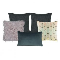 Photo of 5 square and rectangular cushions in grey, lilac and orange colours