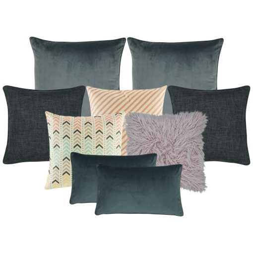 A set of nine square and rectangular cushion covers in grey, lavender and orange colours