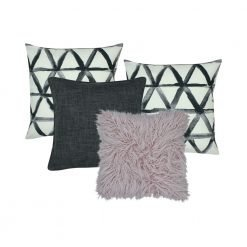 A photo of four square cushion covers in grey and lavender colours
