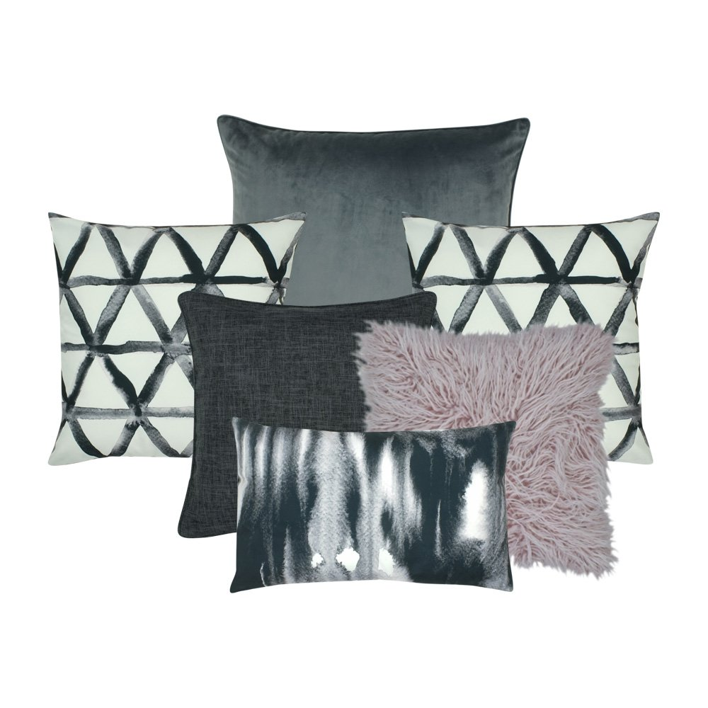 Image of six cushions in monotone colours with abstract prints