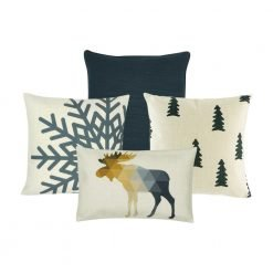 A collection of four grey and white cushions in winter Christmas prints