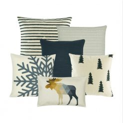 A mix of six cushion covers with stripes, tree, snowflakes and animal prints in grey and white colours