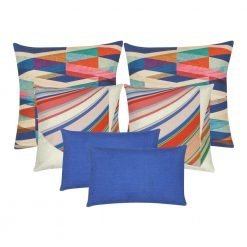 A collection of blue and colourful square and rectangular cushions
