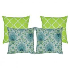 4 set teal and lime coloured outdoor cushion covers
