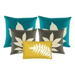 A collection of 5 cushions in teal, grey and yellow colours with leaf patterns