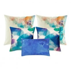 A collection of 5 cushion covers in shades of blue and teal colours