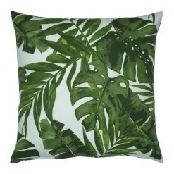 Square outdoor cushion cover with green leaves