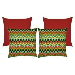 A set of 4 multi-coloured and red outdoor cushion covers