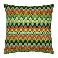 Outdoor cushion cover with ripple design in blue, yellow, green and red colours