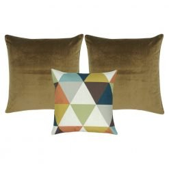 A collection of 3 brown and multi-colour square cushions with diamond triangle pattern