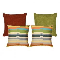 A collection of 4 multi-coloured, burnt orange and olive square cushions