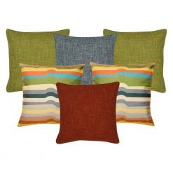A set of 6 square multi-colour, burnt orange, grey and olive cushions